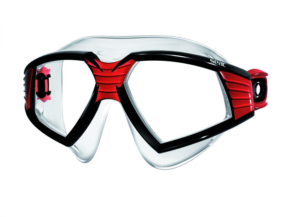 SONIC brýle na plavání čirý silikon - černočerven SEAC SUB