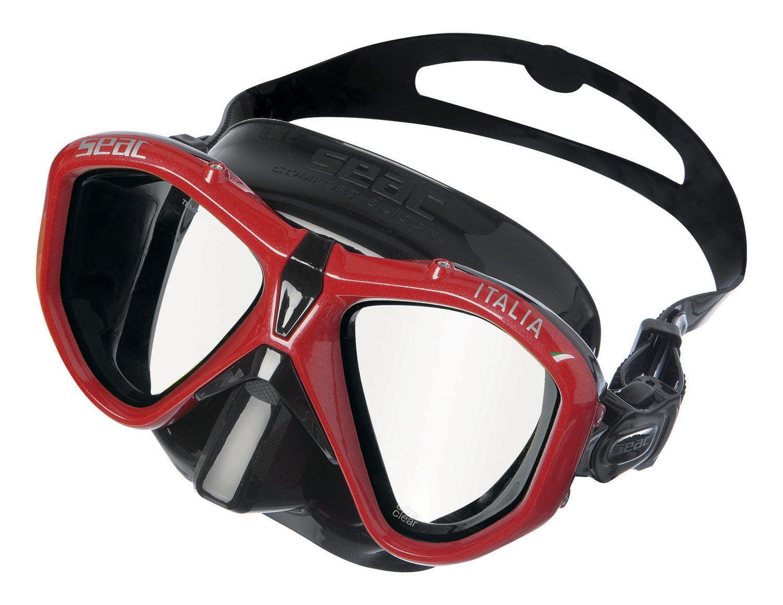 ITALIA dvouzorníková maska silikonová - černočervená SEAC SUB